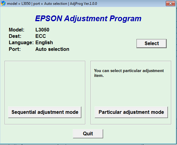 Adjustment program Epson L-3050 L-3...