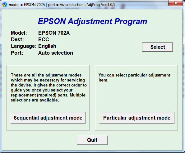 Adjustment program Epson 702A