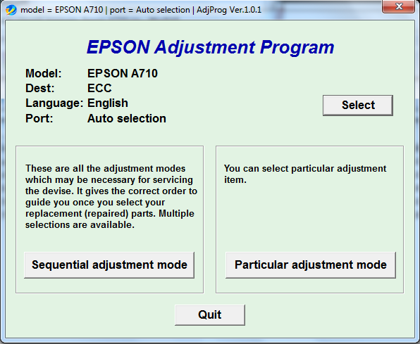 Adjustment program Epson A710