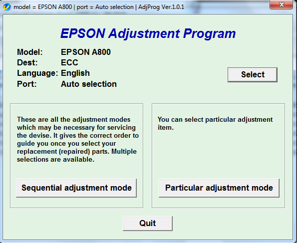 Adjustment program Epson A800