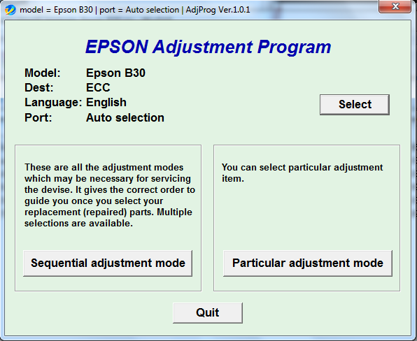Adjustment program Epson B-30