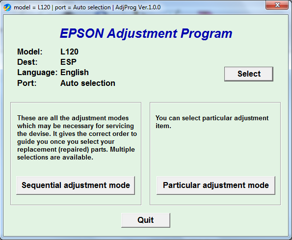 Adjustment program Epson L-120