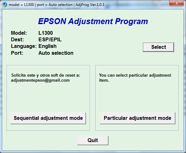 Adjustment program Epson L-1300