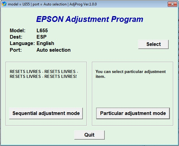 Adjustment program Epson L-655