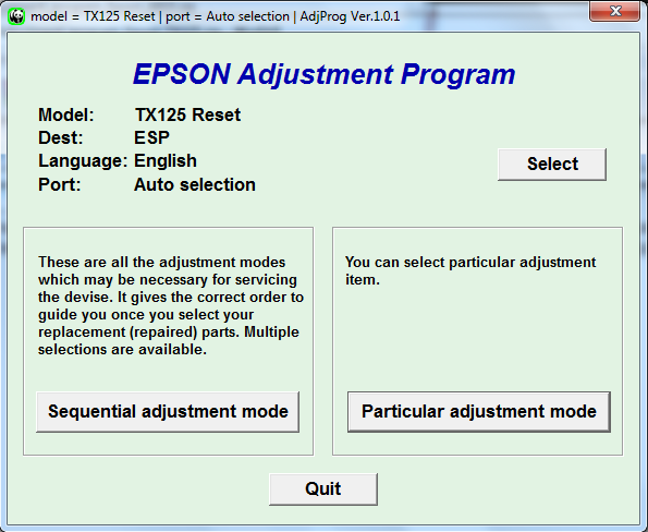 Adjustment program Epson TX-125