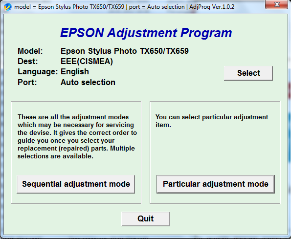 Adjustment program Epson TX-650, TX...