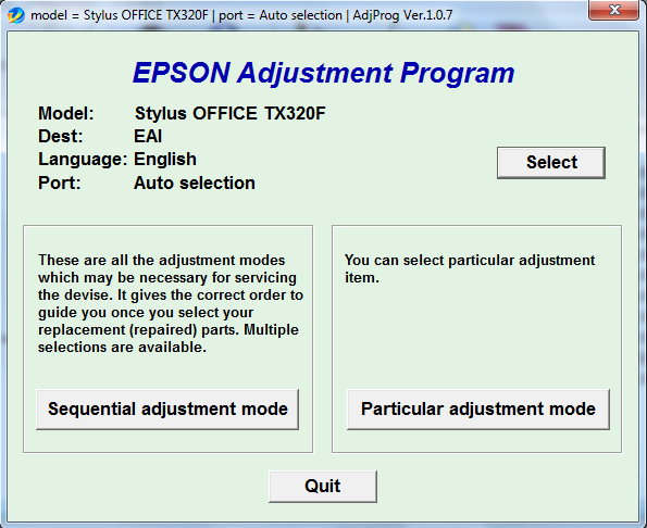 Adjustment program Epson TX-320F, B...