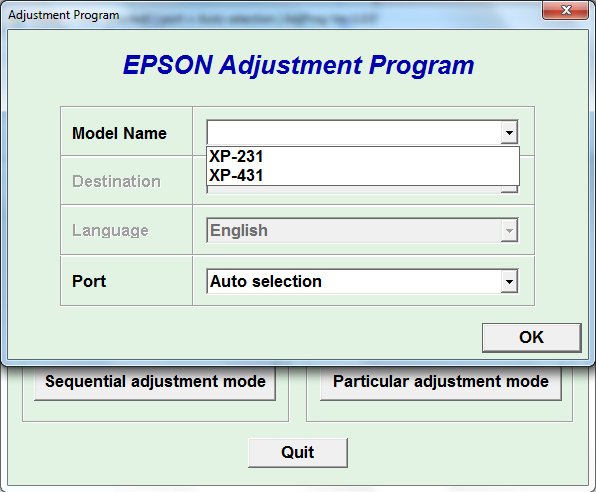 Adjustment program Epson XP-231, XP...