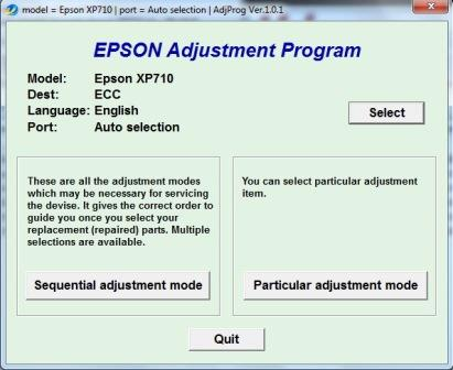 Adjustment program Epson XP-710