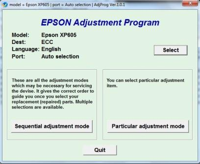 Adjustment program Epson XP-605
