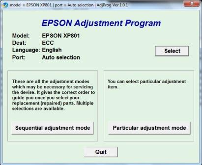 Adjustment program Epson XP-801