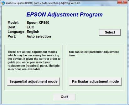Adjustment program Epson XP-850