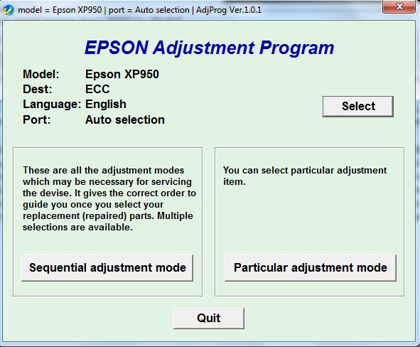 Adjustment program Epson XP-950